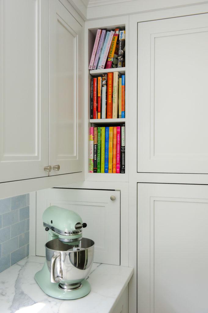 Book nook detail in custom kitchen