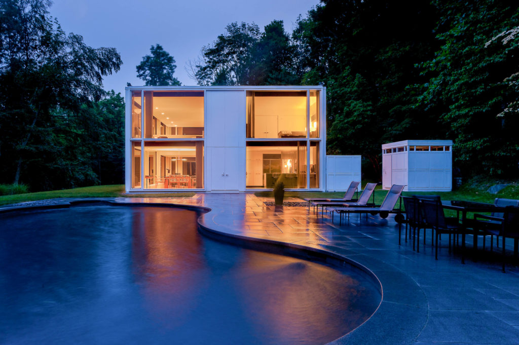 Mid-century glass house pool and shed
