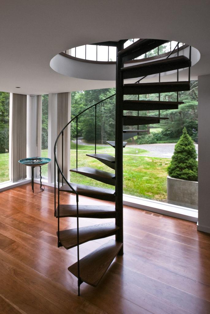 modern steel spiral staircase