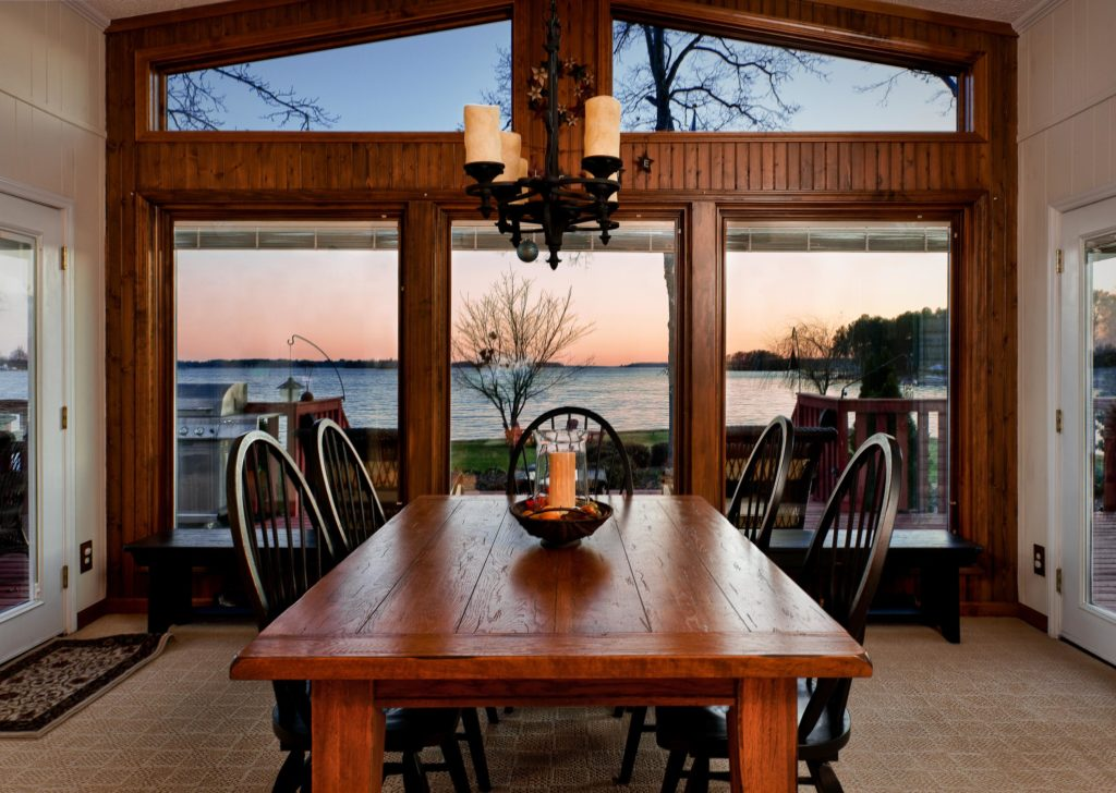 Dining room at sunset overlooking lake