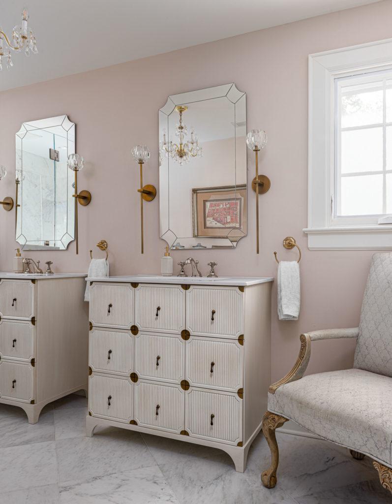 custom vanity in pink bathroom