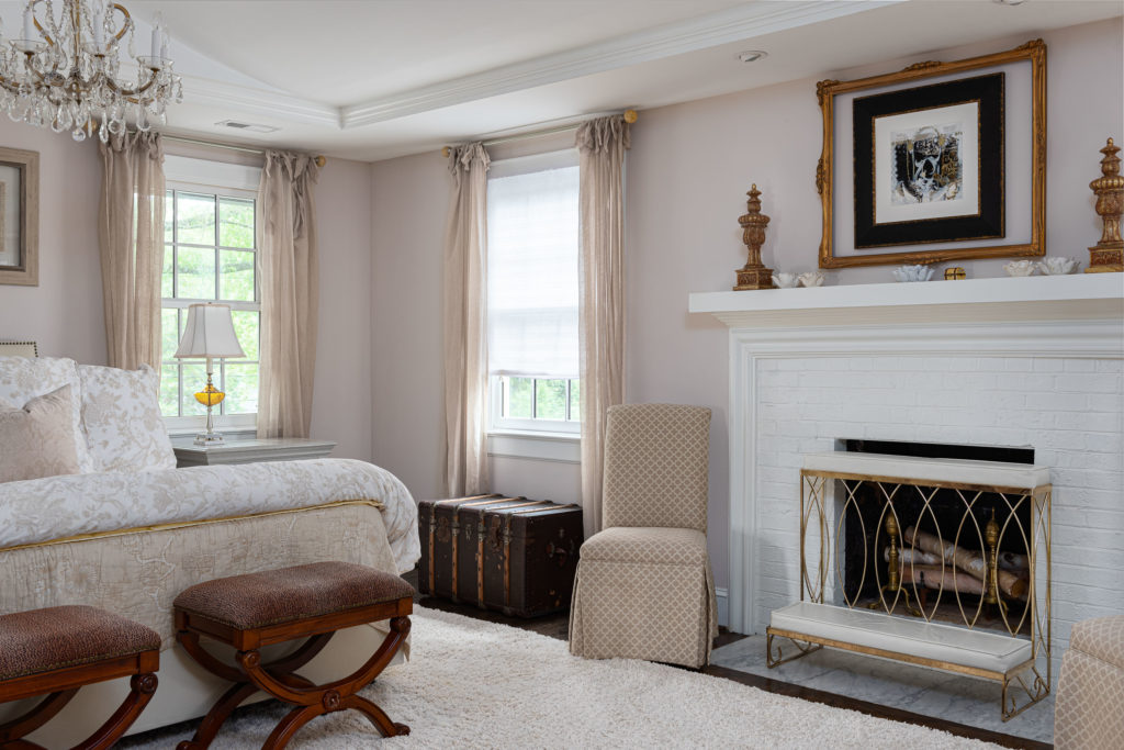 bedroom interior design with fireplace