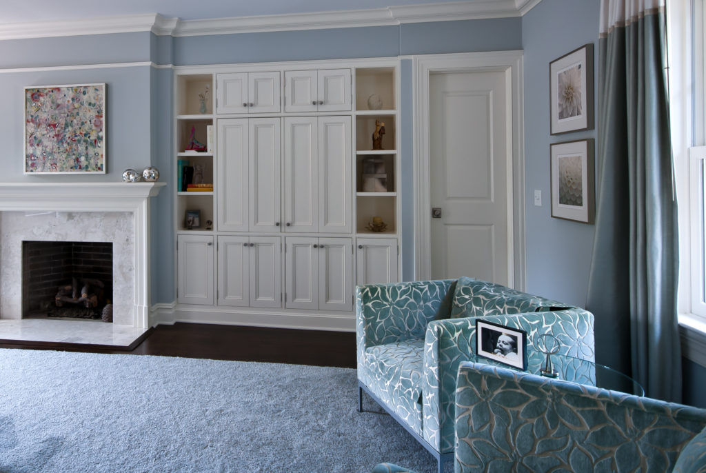 Architectural blue and white bedroom interior